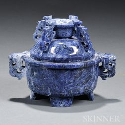 Violet Blue Lapis Lazuli Covered Censer