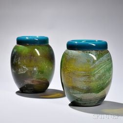 Pair of Cendese Art Glass Vases