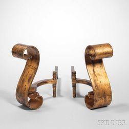 Pair of Art Deco Andirons Attributed to Raymond Subes