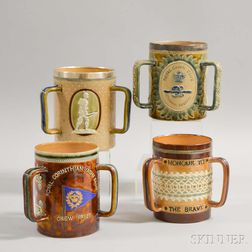 Four Royal Doulton and Doulton Lambeth Three-handled Stoneware Loving Cups