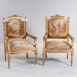Pair of Louis XVI-style Tapestry-upholstered Giltwood Armchairs