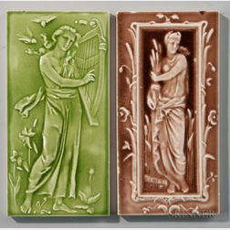 Two Craven Dunnill and Co. Art Pottery Tiles with Classical Women