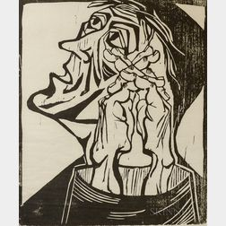 Leonard Baskin (American, 1922-2000)      Six Woodcuts: Passover, Succoth, Weeping Man, Crying Man, Japanese Head