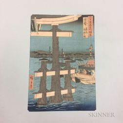 Utagawa Hiroshige (1797-1858), Itsukushima, Depiction of a Festival, Aki Province
