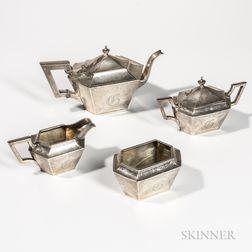 Four-piece Meriden Britannia Sterling Silver Tea Service