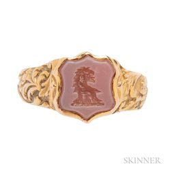Antique Gold and Hardstone Seal Ring