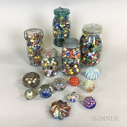 Large Group of Paperweights, Marbles, and Small Ceramic Figures