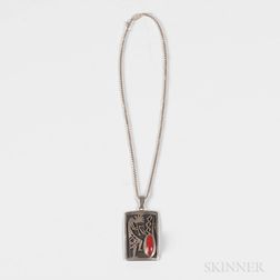 Southwest Silver and Coral Pendant
