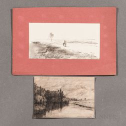 Two Unframed Charcoal Drawings:      Attributed to Charles Jayne (British, 19th Century), Landscape with River