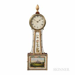 """New England Gilt-front Patent Timepiece or """"Banjo"""" Clock"""