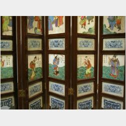 Chinese Porcelain Inset Eight-Panel Screen.