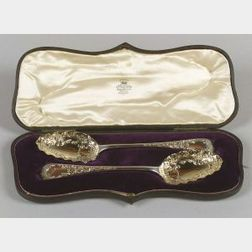 Pair of Cased George III Silver Spoons