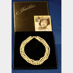 Jackie Onassis Franklin Mint Collectible Three-Strand Faux Pearl Necklace
