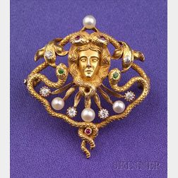 Art Nouveau 18kt Gold and Gem-set Brooch