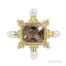 18kt Gold, Smoky Topaz, Diamond, and Cultured Pearl Pendant/Brooch