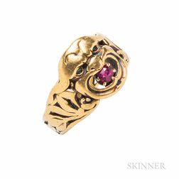 Antique 18kt Gold and Ruby Ring