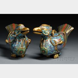 Pair of Cloisonne Covered Vessels