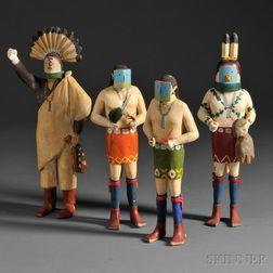 Four Navajo Carved Yeibichai Figures