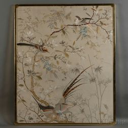 Pair of Embroideries of Flowers and Birds