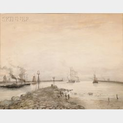 Hendrik Willem Mesdag (Dutch, 1831-1915)      The Harbor of Ijmuiden