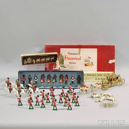 Seven Assorted Britains Ltd. Painted Lead British Royalty and Military Figures and   Figural Groups