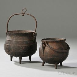 Three Miniature Cast Iron Pots