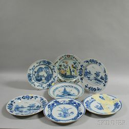 Seven Mostly Blue and White English Delft Chargers