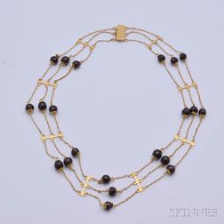 14kt Gold and Amethyst Bead Triple-strand Necklace