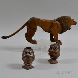 Carved Lion with Articulated Limbs and Two Carved Face Brackets/Finials