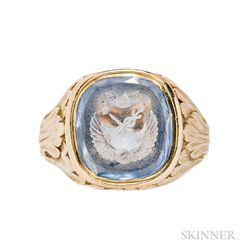 Antique 18kt Gold and Engraved Sapphire Ring