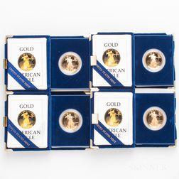 Four 1986 $50 Proof American Gold Eagles.     Estimate $4,000-6,000