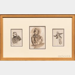 Anglo/American School, 19th/20th Century      Framed Group of Three Figure Studies of a Man.
