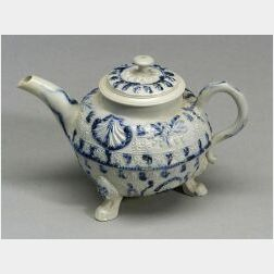 Staffordshire White Saltglaze Stoneware Blue Sponged Teapot and Cover