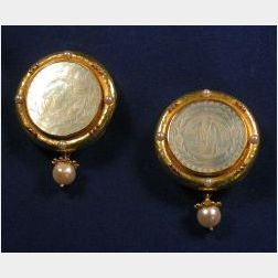 18kt Gold, Cultured Pearl and Mother of Pearl Earclips