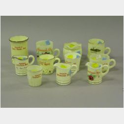 Eleven Midwestern Souvenir Custard Glass Table Items