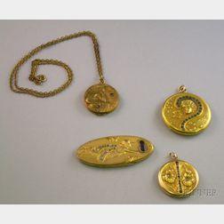Four Art Nouveau Gilt Metal Lockets