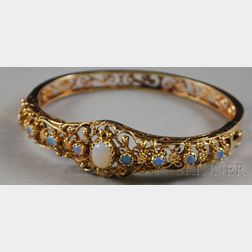 14kt Gold and Opal Bangle Bracelet