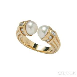 18kt Gold, Cultured Pearl, and Diamond Ring, Bulgari