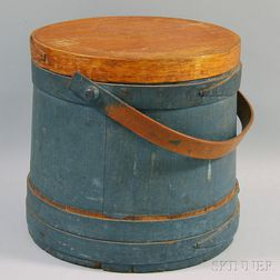 Blue-painted Wooden Covered Firkin