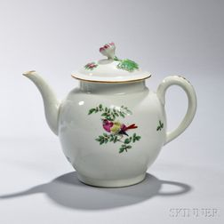 First Period Worcester Porcelain Teapot and Cover