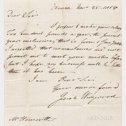 Josiah Wedgwood II Letter Dated 1814
