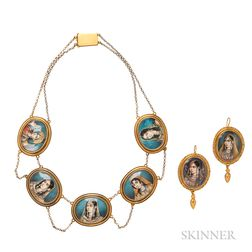 Antique Gold and Miniature Portrait Necklace and Earrings