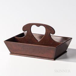 Walnut Cutlery Box with Heart Handle