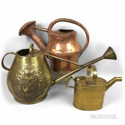 Three Copper and Brass Watering Cans
