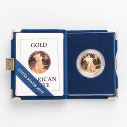 1987 $50 Proof American Gold Eagle.     Estimate $1,000-1,200