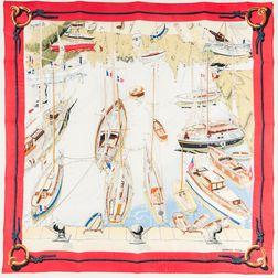 "Framed Hermes ""Belle Ile le Port"" Silk Scarf"