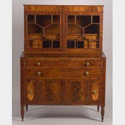 Federal Mahogany and Bird's-eye Maple Inlaid Desk Bookcase