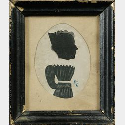 Puffy Sleeve Artist (Active 1829-31)      Silhouette Portrait of a Woman Holding a Flower Sprig.