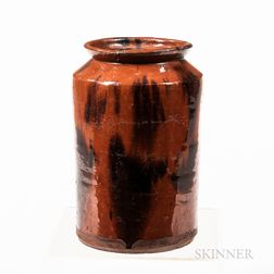 Large Straight-sided Redware Jar