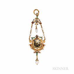 Renaissance Revival Gold, Hardstone Intaglio and Enamel Pendant